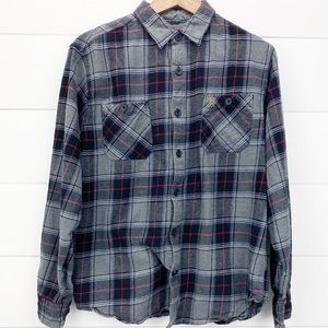 Coleman Plaid Flannel Shirt Gray and Red L
